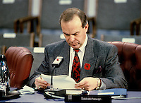 Montreal (Qc) Canada -File Photo - ca 1987 - Grant Devine, 11th Premier of the Canadian province of Saskatchewan from May 8, 1982 to November 1, 1991 at the annual Conference of Premiers in Ottawa