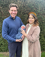 20 Febraury 2021 - London, England - Undated photo issued by Buckingham Palace of Princess Eugenie and Mr Jack Brooksbank with their son August Philip Hawke Brooksbank. The boy was born at The Portland Hospital. Photo Credit: ALPR/AdMedia
