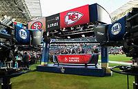 MIAMI, FL - FEBRUARY 2: (L-R) FOX NFL SUNDAY Host Curt Menefee, FOX NFL SUNDAY Co-Host & THURSDAY NIGHT FOOTBALL Pregame Analyst Terry Bradshaw, FOX NFL SUNDAY & THURSDAY NIGHT FOOTBALL Pregame Analyst Howie Long, and FOX NFL SUNDAY Analyst Jimmy Johnson at the Fox Sports broadcast of Super Bowl LIV at Hard Rock Stadium on February 2, 2020 in Miami, Florida. (Photo by Frank Micelotta/Fox Sports/PictureGroup)