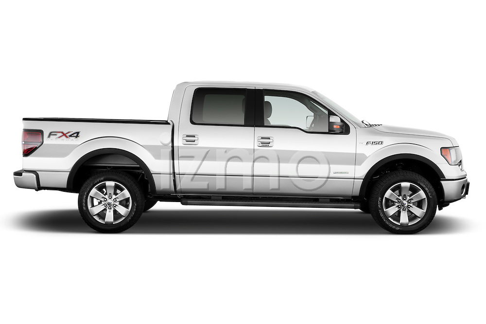 Driver side profile view of a .  2013 Ford F150 FX4 crew cab
