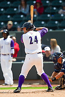Kevan Smith (24) of the Winston-Salem Dash at bat against the Wilmington Blue Rocks at BB&T Ballpark on April 21, 2013 in Winston-Salem, North Carolina.  The Blue Rocks defeated the Dash 5-3.  (Brian Westerholt/Four Seam Images)