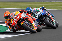 28th August 2021; Silverstone Circuit, Silverstone, Northamptonshire, England; MotoGP British Grand Prix, Qualifying Day; Repsol Honda Team rider Marc Marquez on his Honda RC213V is closely followed by his brother LCR Honda Castrol rider Alex Marquez on his Honda RC213V