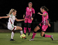 Tess Lameir (14 OHL)  and Noemie Fourdin (11 Charleroi) in action during a female soccer game between Oud Heverlee Leuven and Sporting de Charleroi on the seventh matchday of the 2020 - 2021 season of Belgian Womens Super League , sunday 15 th of November 2020  in Heverlee , Belgium . PHOTO SPORTPIX.BE | SPP | SEVIL OKTEM