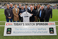 Leon Britton with Match Sponsors during the Sky Bet Championship match between Swansea City and Sheffield United at the Liberty Stadium, Swansea, Wales, UK. Saturday 19 January 2019