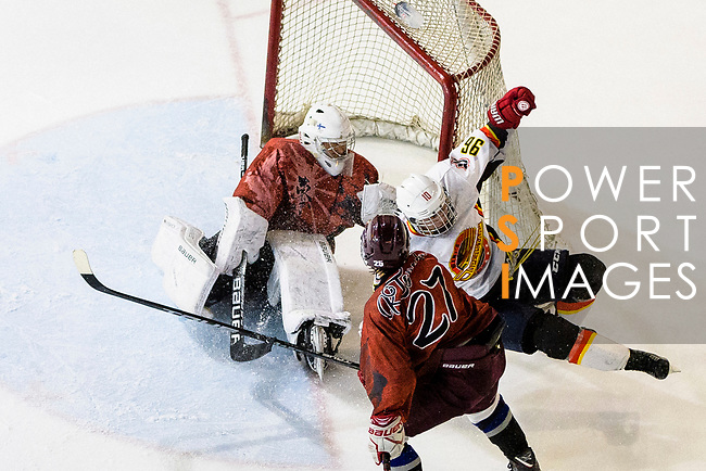 Chris Law of Sammi's (R) battle in the goal mouth with Tokyo Egoists Goalie Takeo Toyoda (L) during the Mega Ice Hockey 5s match between Tokyo Egoists and Sammi's Superstars on May 03, 2018 in Hong Kong, Hong Kong. Photo by Marcio Rodrigo Machado / Power Sport Images