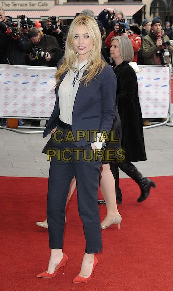 Laura Whitmore.attended the Prince's Trust & Samsung Celebrate Success Awards 2013, Odeon Leicester Square cinema, London, England..March 26th, 2013.full length black white navy blue suit blazer trousers shirt red shoes hand in pocket.CAP/CAN.©Can Nguyen/Capital Pictures.