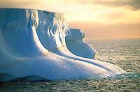 Penguins on a large iceberg near Deception Island in Antarctica.<br />