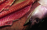 The remains of a tuna after filliting at the Tsukiji Fish Market in Tokyo