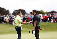4th July 2021; Mount Juliet Golf Club, Kilkenny, Ireland; Dubai Duty Free Irish Open Golf, Day Four; Rory Mcilroy of Northern Ireland and Maximilian Kieffer of Germany shake hands after their final round