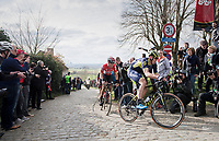 Mathew Haymen (AUS/Orica-Scott) on top of the Paterberg<br /> <br /> 72nd Dwars Door Vlaanderen (1.UWT)<br /> 1day race: Roeselare › Waregem BEL (203.4km)