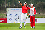Gaurika Bishnoi of India tees off at tee one during the 9th Faldo Series Asia Grand Final 2014 golf tournament on March 18, 2015 at Mission Hills Golf Club in Shenzhen, China. Photo by Xaume Olleros / Power Sport Images