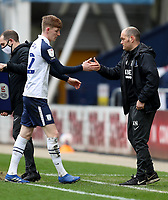 20th March 2021; Deepdale Stadium, Preston, Lancashire, England; English Football League Championship Football, Preston North End versus Luton Town; Anthony Gordon of Preston North End shakes hands with manager Alex Neill as he is substituted