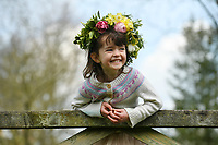 BNPS.co.uk (01202 558833)<br /> Pic: ZacharyCulpin/BNPS <br /> <br /> Weather input - <br /> <br /> Crowning glories: Dorset Flower Farmers, the Priestley family perfect their flower crown-making ahead of Garden Day on Sunday 9th May, the nationwide celebration of the benefits of gardens for health and wellbeing.  <br /> <br /> Pictured: Arabella Priestley, 5 with the flower crown in the garden<br /> <br /> Garden Day will be back for a third successive year on Sunday, 9th May 2021 to celebrate outdoor and indoor garden spaces. The nationwide  movement is calling on plant-lovers to make a flower crown, and share their plant spaces with family and<br /> friends