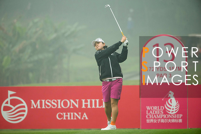 Min Young Lee of South Korea tees off at the 13th hole during Round 4 of the World Ladies Championship 2016 on 13 March 2016 at Mission Hills Olazabal Golf Course in Dongguan, China. Photo by Victor Fraile / Power Sport Images