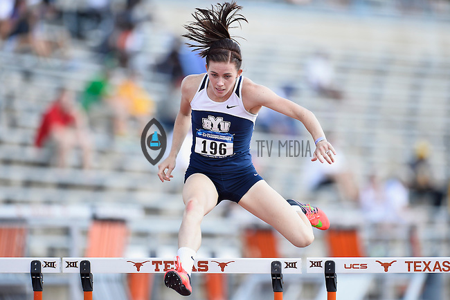 Alyssa Monteverde-Dalto of BYU competes in 400 meter hurdles prelims during West Preliminary Track and Field Championships, Friday, May 29, 2015 in Austin, Tex. (Mo Khursheed/TFV Media via AP Images)