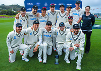The Black Caps pose with the series trophy during day four of the second International Test Cricket match between the New Zealand Black Caps and West Indies at the Basin Reserve in Wellington, New Zealand on Monday, 14 December 2020. Photo: Dave Lintott / lintottphoto.co.nz