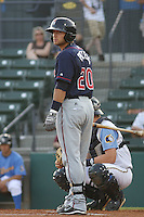 Doug Pickens #20  of the Kinston Indians at bat during a game against the Myrtle Beach Pelicans on May 12, 2010 in Myrtle Beach, SC.
