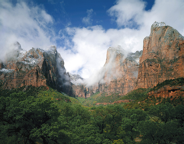 Snowstorm and the Three Patriarchs rock formation, Zion National Park, St. George, Utah, USA