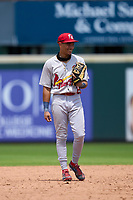 Palm Beach Cardinals second baseman Donivan Williams (25) during a game against the Bradenton Marauders on May 30, 2021 at LECOM Park in Bradenton, Florida.  (Mike Janes/Four Seam Images)