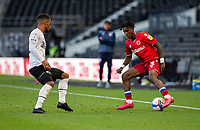 12th September 2020; Pride Park, Derby, East Midlands; English Championship Football, Derby County versus Reading; Omar Richards of Reading turns with the ball at his feet as Marc McNulty of Reading comes in to tackle