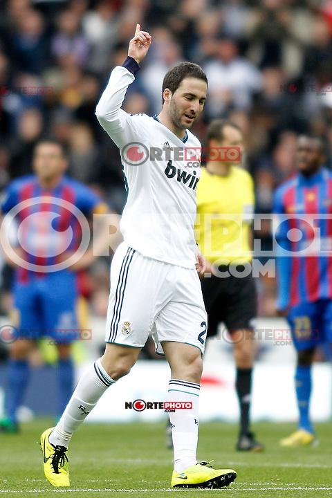 Real Madrid's Gonzalo Higuain celebrates goal during La Liga BBVA match. April 6, 2013.(ALTERPHOTOS/Alconada)