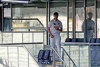 Jamie Porter of Essex collects the new ball from the umpires changing room during Warwickshire CCC vs Essex CCC, LV Insurance County Championship Group 1 Cricket at Edgbaston Stadium on 25th April 2021