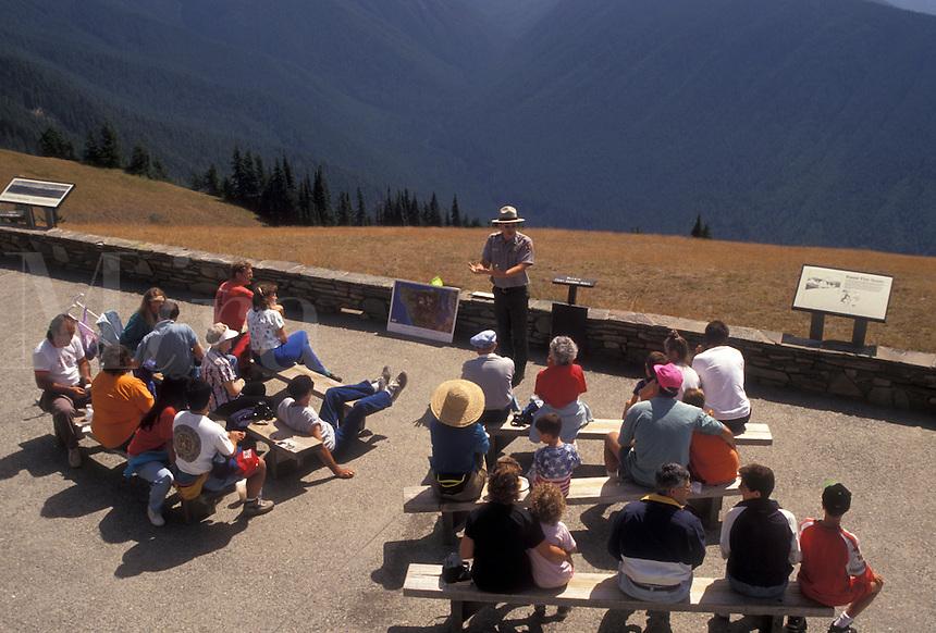 AJ3655, ranger talk, Olympic National Park, Hurricane Ridge, Washington, Olynpic Peninsula, Ranger talk on Hurricane Ridge in Olympic National Park in the state of Washington.