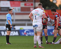 26th March 2021; Kingsholm Stadium, Gloucester, Gloucestershire, England; English Premiership Rugby, Gloucester versus Exeter Chiefs; Referee Luke Pearce awards a penalty to Gloucester