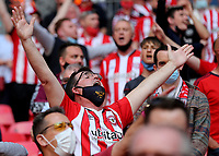 A Brentford fan during Brentford vs Swansea City, Sky Bet EFL Championship Play-Off Final Football at Wembley Stadium on 29th May 2021