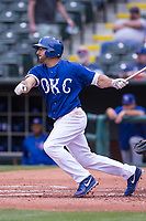 Rob Segedin (26) of the Oklahoma City Dodgers after hitting a pitch during a game against the Iowa Cubs at Chickasaw Bricktown Ballpark on April 9, 2016 in Oklahoma City, Oklahoma.  Oklahoma City defeated Iowa 12-1 (William Purnell/Four Seam Images)