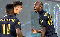 LOS ANGELES, CA - SEPTEMBER 23: Bradley Wright-Phillips #66 of the Los Angeles football club scores his goal and celebrates at banc of California stadium on September 23, 2020 in Los Angeles, California.