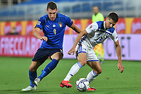 Andrea Belotti of Italy and Gojko Cimirot of Bosnia compete for the ball during the Uefa Nation League Group Stage A1 football match between Italy and Bosnia at Artemio Franchi Stadium in Firenze (Italy), September, 4, 2020. Photo Massimo Insabato / Insidefoto