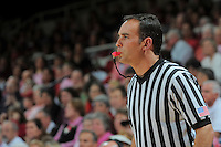STANFORD, CA - FEBRUARY 14:  Official referee uses a pink whistle during Stanford's 58-41 win against the California Golden Bears on February 14, 2009 at Maples Pavilion in Stanford, California.