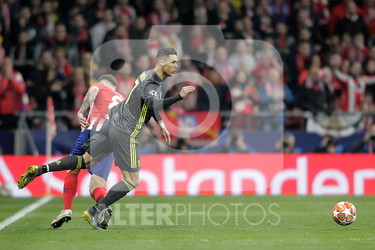 Atletico de Madrid's Saul Niguez and Juventus' Cristiano Ronaldo during a UEFA Champions League match. Round of 16.  February, 20,2019. (ALTERPHOTOS/Alconada)