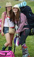08/07/'10 Laura Montgomery and Sarah Carroll from Donegal pictured arriving at Punchestown, Co. Kildare this evening for the start of the Oxegen Festival 2010...Picture Colin Keegan, Collins, Dublin