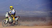 DESIERTO CHILENO -17-01-2014. Piloto colombiano  conduce por el desierto chileno durante su participacion en el Rally Dakar 2014. Colombian driver driving in the Chilean desert while participating in the 2014 Dakar Rally. Photo: VizzorImage / Diego Bustamante / Contribuidor