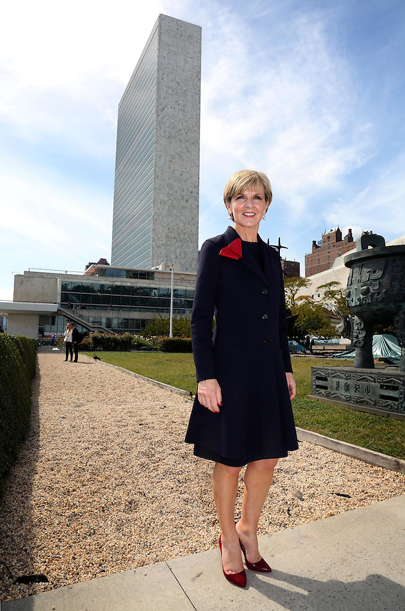 Australian Foreign Minister Julie Bishop in the Rose Garden at UN Headquarters in New York, Friday Sept. 25, 2015. photo by Trevor Collens/DFAT