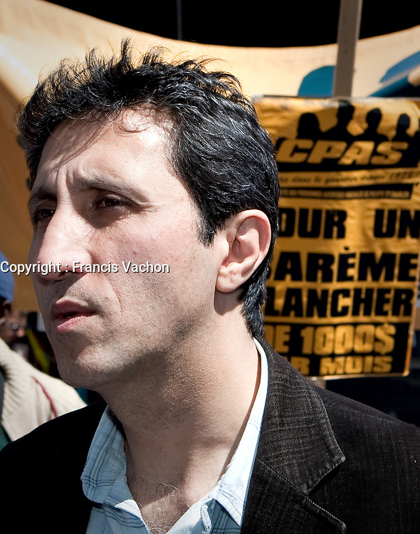 Quebec Solidaire co-leader Amir Khadir takes part into an anti-poverty protest in front of the Congress Center in Quebec city June 15, 2009.<br /> <br /> PHOTO :  Francis Vachon - Agence Quebec Presse