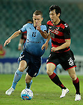 SYDNEY - APRIL 05:  Choe Hoju of Pohang Steelers is challenged by Brandon O'Neill of Sydney FC during the AFC Champions League group H match between Sydney FC and Pohang Steelers on 05 April 2016 held at Sydney Football Stadium in Sydney, Australia. Photo by Mark Metcalfe / Power Sport Images   *** Local Caption *** Choe Hoju;Brandon O'Neill