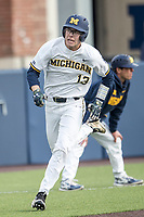 Michigan Wolverines designated hitter Dominic Clementi (13) sprints home against the Maryland Terrapins on April 13, 2018 in a Big Ten NCAA baseball game at Ray Fisher Stadium in Ann Arbor, Michigan. Michigan defeated Maryland 10-4. (Andrew Woolley/Four Seam Images)