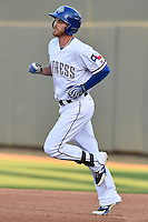 Round Rock Express out fielder Ryan Strausborger (6) runs past first base after hitting a homer at the bottom of first during pacific coast league baseball game, Friday August 14, 2014 in Round Rock, Tex. Reno defeated Round Rock 6-1 to go two up in best of three series. (Mo Khursheed/TFV Media via AP Images)
