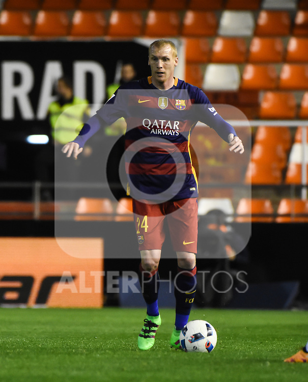FC Barcelona's Jeremy Mathieu  during Spanish King's Cup match. February 10, 2016. (ALTERPHOTOS/Javier Comos)