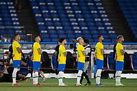 22nd July 2021; Stadium Yokohama, Yokohama, Japan; Tokyo 2020 Olympic Games, Brazil versus Germany; Players of Brazil stand for their national anthem before the match