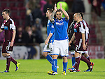 Hearts v St Johnstone....02.11.13     SPFL<br /> Stevie May applauds the fans at full time<br /> Picture by Graeme Hart.<br /> Copyright Perthshire Picture Agency<br /> Tel: 01738 623350  Mobile: 07990 594431