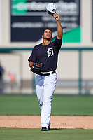 Detroit Tigers relief pitcher Jose Manuel Fernandez (57) during a Grapefruit League Spring Training game against the Atlanta Braves on March 2, 2019 at Publix Field at Joker Marchant Stadium in Lakeland, Florida.  Tigers defeated the Braves 7-4.  (Mike Janes/Four Seam Images)