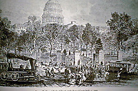 Sketch: Historical view of foot of Capitol Hill in 1868. Dome in background and railroad tracks in foreground.