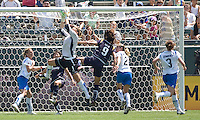 Boston Breaker's goalkeeper Kristin Luckenbill leaps high over LA Sol's Han Duan. The Boston Breakers and LA Sol played to a 0-0 draw at Home Depot Center stadium in Carson, California on Sunday May 10, 2009.   .