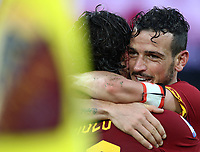 Football, Serie A: AS Roma - Brescia FC, Olympic stadium, Rome, November 24, 2019. <br /> Roma's Nicolò Zaniolo (l) celebrates with his captain Alessandro Florenzi (r) before his goal was canceled during the Italian Serie A football match between Roma and Brescia at Olympic stadium in Rome, on November 24, 2019. <br /> UPDATE IMAGES PRESS/Isabella Bonotto