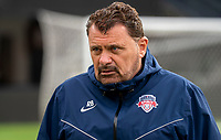 WASHINGTON D.C., ON MARCH 28, 2021 - MARCH 28: Washington, D.C.- March 28: Washington Spirit coach Richie Burke at the end of a match between the Washington Spirit and Sky Blue FC at Audi Field, in Washington D.C., on March 28, 2021 during a game between Sky Blue FC and Washington Spirit at Audi Field, in Washington D.C., on March 28, 2021 in Washington D.C., on March 28, 2021.