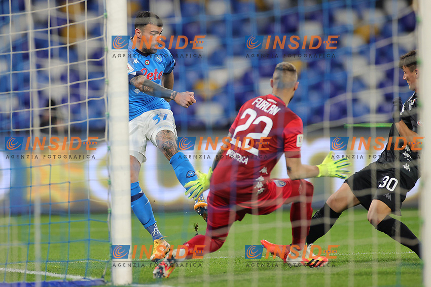 Andrea Petagna of SSC Napoli and Jacopo Furlan of Empoli FC compete for the ball during the Italy Cup football match between SSC Napoli and Empoli FC at stadio Diego Armando Maradona in Napoli (Italy), January 13, 2021. <br /> Photo Cesare Purini / Insidefoto